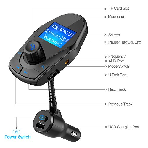Nulaxy-KM24-Bluetooth-FM-Transmitter-Wireless-Hands-Free-Car-Kit-Power-OnOff-Button-With-Charger-Play-USB-Flash-Drive-Micro-SD-Card-Aux-Input-Output-2018-Model144-Black