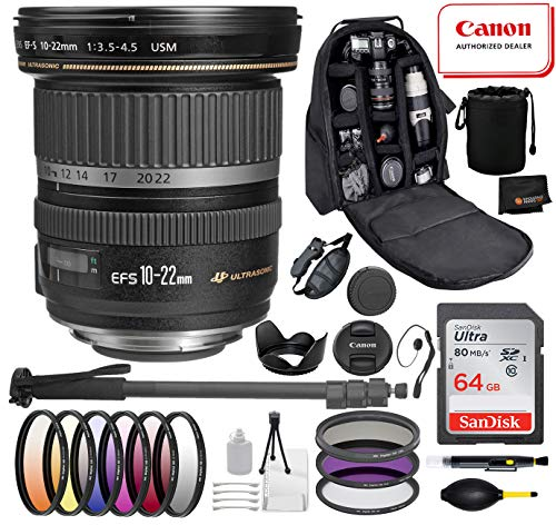Canon EF-S 10-22mm f/3.5-4.5 USM Lens with Professional Bundle Package Deal Kit Includes San Disk 64gb SD Card + 3pc Filter Kit (UV, CPL, FLD) + 72″ Monopod + More