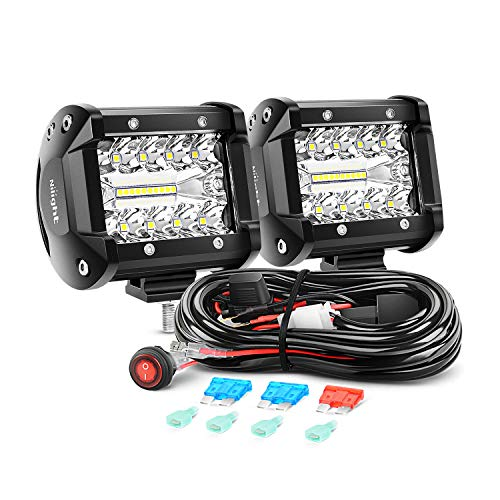 Nilight ZH302 Bar 2PCS 60W 4 Inch Flood Spot Combo LED Light Pods Triple Row Work Driving Lamp with 12 ft Wiring Harness kit-2 Leads,2 Year Warranty