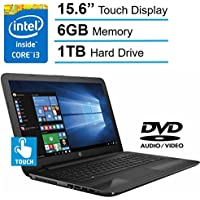 HP 15.6-inch HD Touchscreen Display Laptop PC, Intel Dual Core i3-6100U 2.3GHz Processor, 6GB DDR4 SDRAM, 1TB HDD, Bluetooth, HDMI, DTS Studio Sound, DVD +/- RW, Windows 10-Black