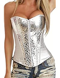 Anvoro Women's Faux Leather Punk Front Zip Up Corset With G-String