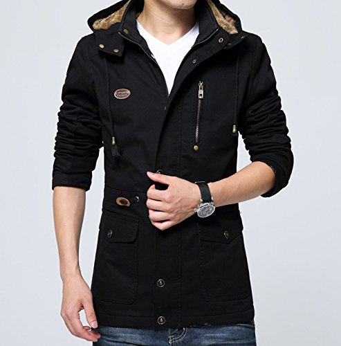 Amazon.com: WYMBS Mens windbreaker and plush warm cotton jacket, Sau long coats ,black,xl: Clothing