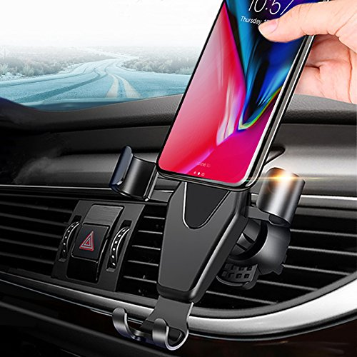 JAHMAI Car Phone Holder, Air Vent Gravity Sensing Auto Lock Metal Phone Mount Smart No Touch Design One hand Operate for iPhone X/8/7/6s/Plus/5S/Samsung S8/S7/Note and other 4-6 Inch Smartphones