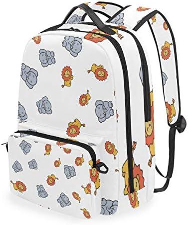ELIENONO Nahtlose Muster-Elefant-Löwe-Karikatur-Art,Schulrucksack mit abnehmbarem Federmäppchen, 2-in-1-Reiserucksack für 15-Zoll-Laptop für Mädchen oder Jungen