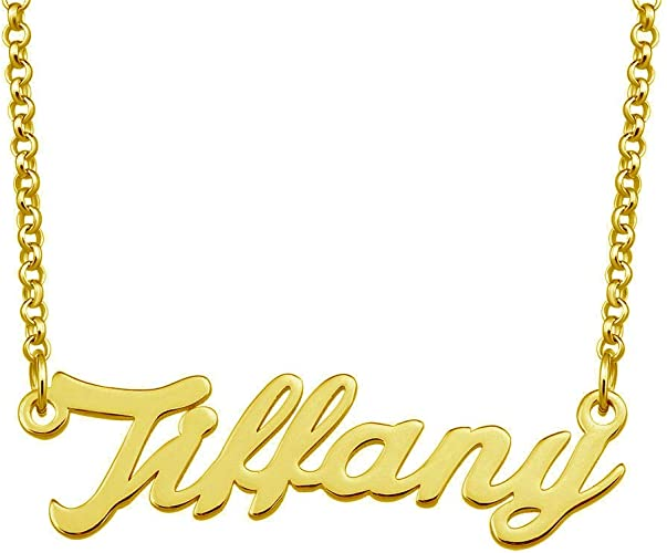 Melanie Name Necklace Valentines Birthday Christmas Gift for Her Gold Tone