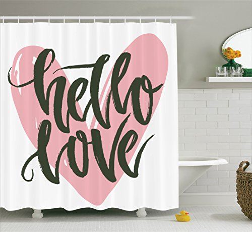 Vintage Decorations Shower Curtain Set by Ambesonne, Lettering Poster With A Phrase Hello Love Over Heart Shape Illustration Art, Bathroom Accessories, 69W X 70L Inches (Shower Curtain Love compare prices)