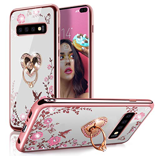 Galaxy S10 Case,WATACHE Sparkly Bling Rhinestone Floral Crystal Slim Fit Soft TPU Plating Rubber Case Cover with Detachable 360 Finger Kickstand Bling Ring Holder for Galaxy S10 6.1
