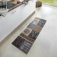 Zala Living Dinner Waschbarer Küchenläufer, Polyamid, Grau/Braun, 150 x 50 x 0.5 cm
