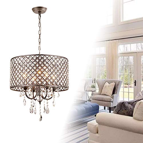FROADP - Lámpara de techo de cristal con pantalla de metal, diseño ...