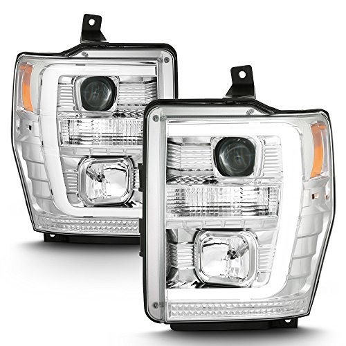 ACANII - For 2008 2009 2010 Ford F250 F350 F450 LED Light Tube Projector Headlights Headlamps Driver & Passenger Side