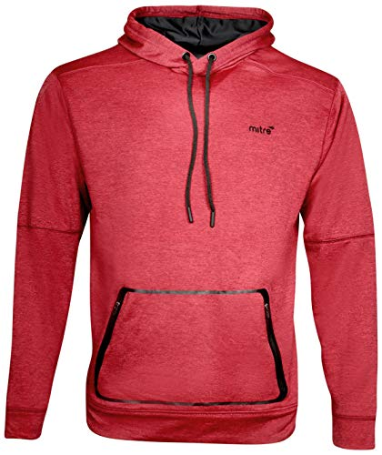 mitre Men\'s Pullover Active Performance Hoodie, Burgundy Heather, X-Large'
