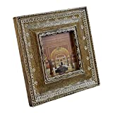 Indian Heritage Wooden Photo Frame 4x4 Mango Wood in Dark Wood Finish with White Henna Painting
