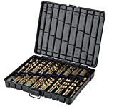 """Titanium Drill Bit Set for Metal - 230pc Kit - Coated HSS - From 1/16"""" up to 1/2 Inch"""