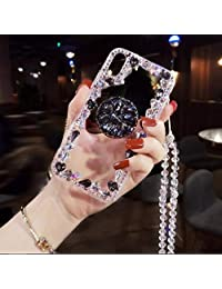 Amocase Diamond Clear Case with 2 in 1 Stylus for Samsung Galaxy A8 2018,Luxury Girly 3D Handmade Gemstone Soft Rubber Bumper Ring Stand Holder Bling Case with Crystal Neck Lanyard - Black