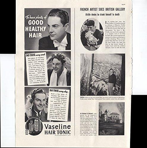 Vaseline Hair Tonic To Have Plenty Of Good Healthy Hair 1937 Vintage Antique -