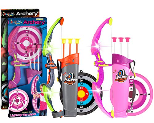 POKONBOY 2 Sets Bow and Arrow for Kids, LED Light Up Archery Sets for Kids Outdoor Hunting Game with Quivers and Targets, Girl and Boy Archery Sets for Age 3+ (Green and Pink)
