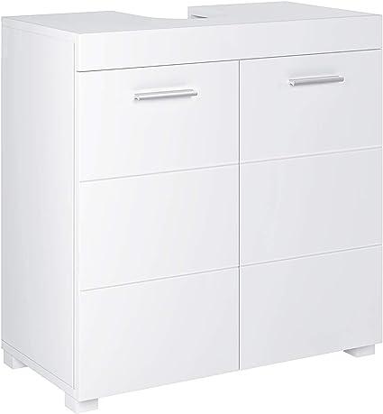 Homfa Mueble Debajo Lavabo Mueble Baño Lavabo Armario Baño Almacenaje con 2 Estantes Blanco 60x31x60cm
