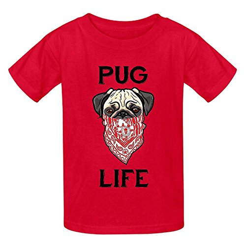 Snowl Pug Life Forever Child Crew Neck Print T-shirt Red
