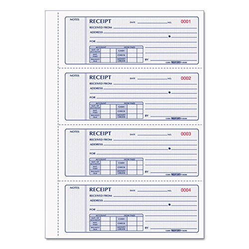 REDIFORM Money Receipt Books with Carbons, Triplicate, 4 Forms per Page, 200 Sets per Book (Rediform Business Receipt Book)