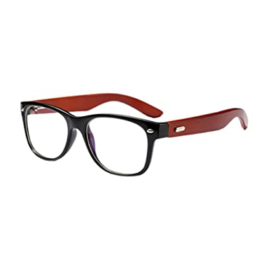 9d969c6387 Hzjundasi Retro Bamboo Wood Temple Optical Glasses Full Frame Non-prescription  Clear Lens Eyewear Unisex Outdoor UV400 Eyeglasses  Amazon.co.uk  Clothing