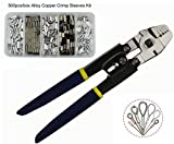Wire Rope Swager Crimpers Fishing Crimping Tool for Copper Fishing Line Crimp Sleeves Swivels Snaps Up To 2.2mm Premium Rigging Kit (Stainless Steel Crimper Kit)