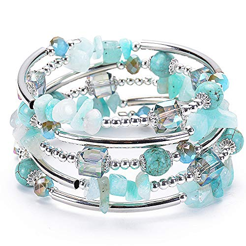 ANGELFLY Turquoise Beaded Wrap Boho Ermish Stackable Cuff Multilayer Pulseras de Mujer Casual Sparkle Bangle Bracelets for Women, Teen Girl, Boy Gift(A-Turquoise)