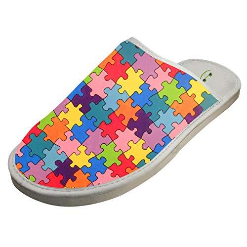 BVVST Bedroom Shoes Autism Awareness Warm Indoor House Slippers For Women/Men