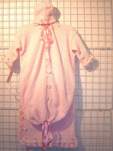 Bt81bpbk, Knitted on Hand Knitting Machine Then Finished By Hand Crochet Infant Girls Outfit, Containing Baby Pink Chenille Bunting Sweater, Hat, Blanket Set Trimmed with Satin Rosebuds