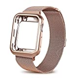WEFU for Apple Watch Band with Case  42mm, Stainless Steel Mesh Milanese Loop with Adjustable Magnetic Closure Replacement Wristband iWatch Band for Apple Watch Series 3 2 1 (Gold Series 3, 42mm)