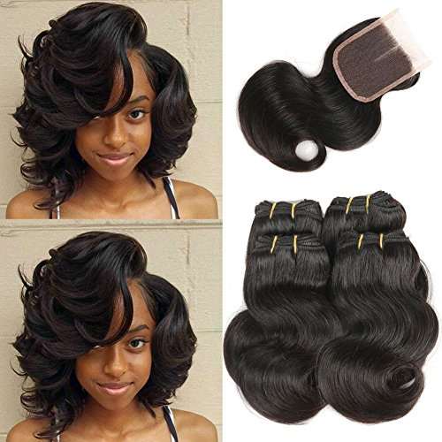 Brazilian Hair Body Wave 4 Bundle with Closure 100% Remy Unprocessed Human Hair Weave Bundles Fashoin Short Hair Extensions Natural Black 230g in total(8 8 8 8 with 8)