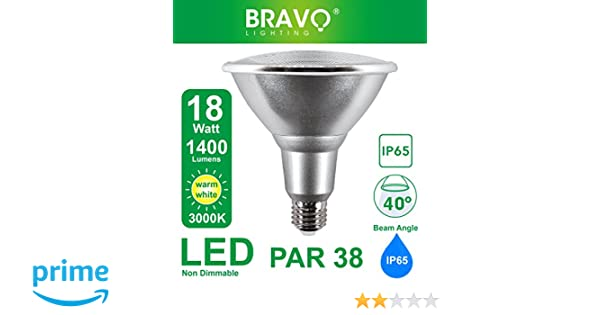 Bravo Lighting PAR38 - Bombilla halógena (18 W, IP65, E27, equivalente a 150 W, 3000 K, luz blanca cálida): Amazon.es: Iluminación