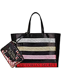 Bling Stripe Sequin Carryall Tote W Mini Bag Set Black/Red. Victorias Secret