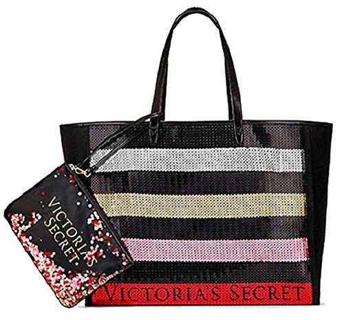 Victoria's Secret Bling Stripe Sequin Carryall Tote W Mini Bag Set Black/Red ()