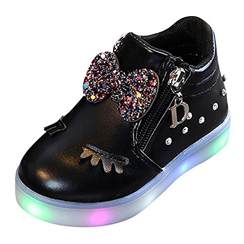 Londony LED Fashion Sneakers Kids Girls Boys Light Up Wheels Skate Shoes Comfortable Mesh Surface Roller Shoes Gift Black