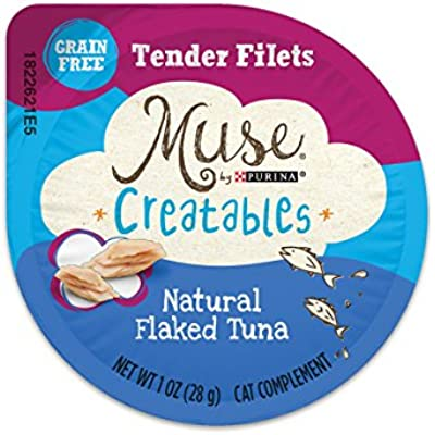 Muse by Purina Grain Free, Natural Wet Cat Food Complement, Creatables Tender Filets Flaked Tuna - (8) 1 oz. Tubs