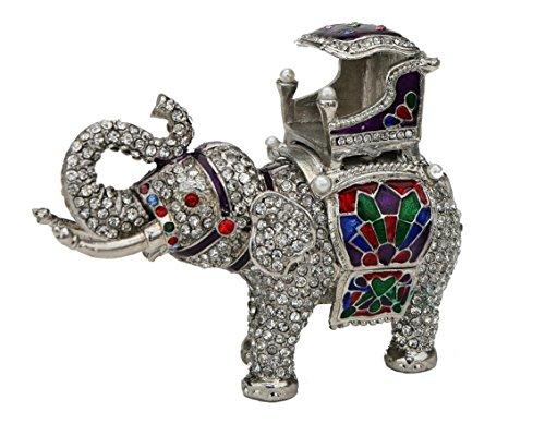 es Pewter Indian Elephant Howdah Carriage Figurine Box - Swarovski Crystals, Silver Plated, Trinket, Jewelry, Keepsake, Pill Organizer ()