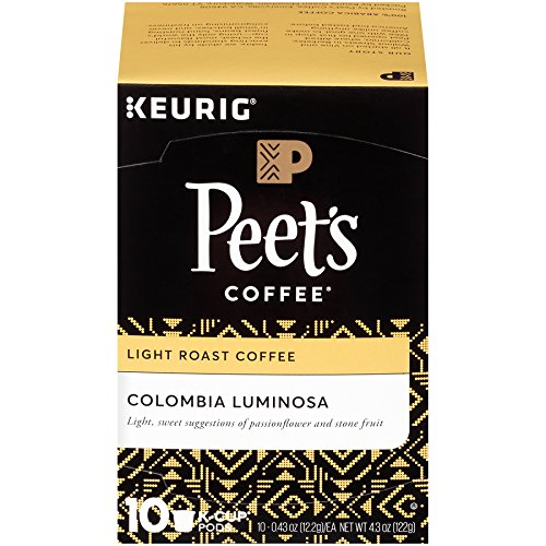 Peet's Coffee, Colombia Luminosa, Slight Roast, K-Cup Pack (10 ct.), Single Cup Coffee Pods, Mild, Bright, Smooth Light Roast Blend of Columbia & Ethiopian Coffees; for All Keurig K-Cup Brewers