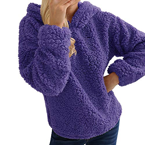 GOVOW Ladies Warm Up Suits for women Artificial Wool Coat Hooded Sweatshirt Winter Parka Outerwear(US:10/CN:XL,Purple )