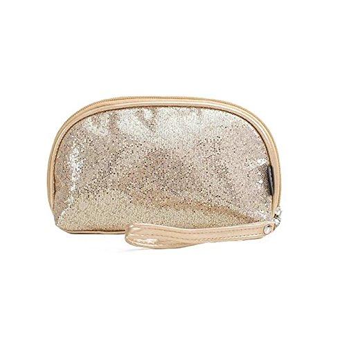 Garrelett Shimmery Sequined Top Zipper Evening Handbag Wallet Cosmetic Case Clutch Coins Purse Card Holder Cellphone Bag Organizer for Women Girls Ladies (Gold)