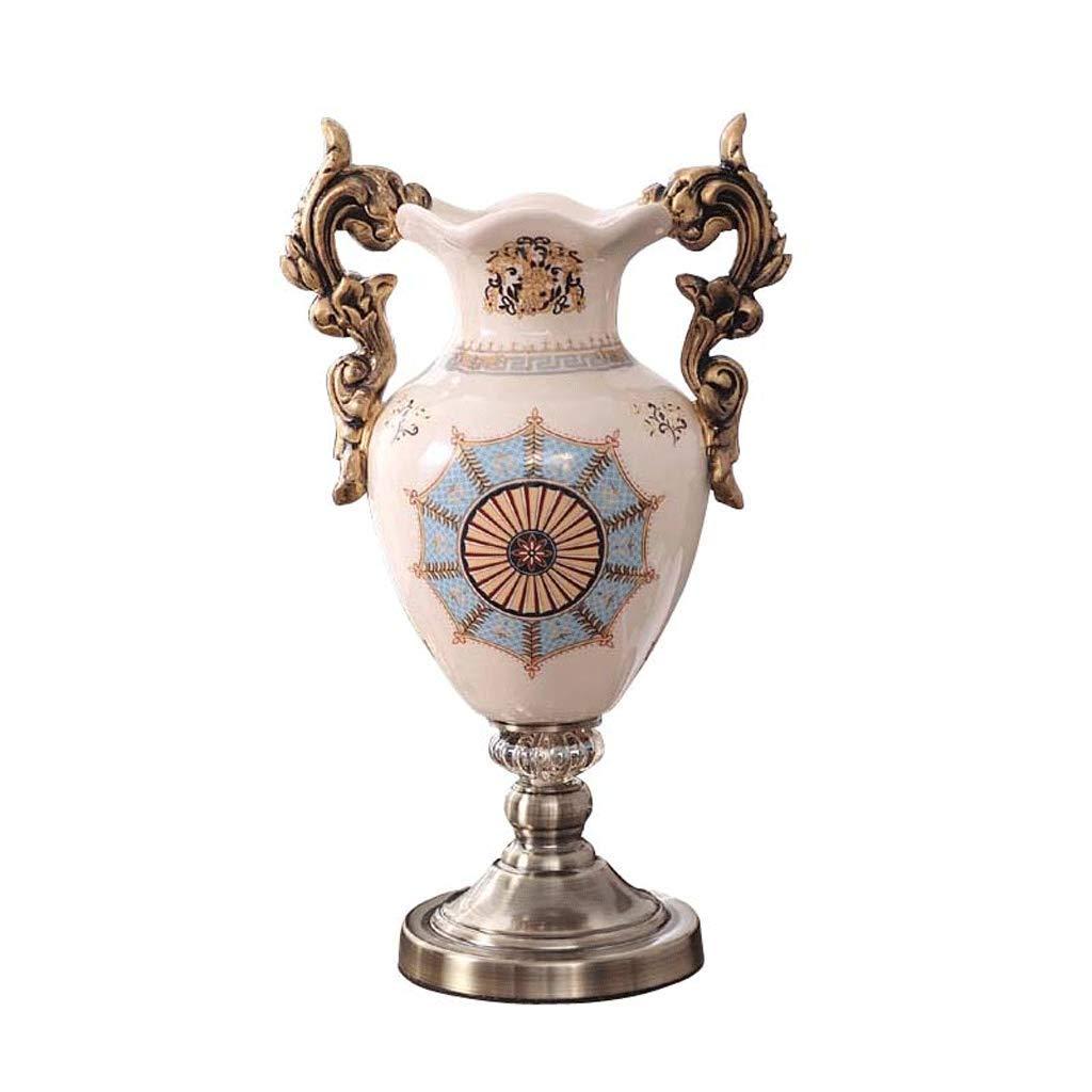 高脚耳セラミック花瓶レトロ装飾工芸品装飾品リビングルームポーチ LCSHAN (Color : Ceramic-White, Size : 43cm*18cm*8.5cm) B07T4MN1JQ Ceramic-White 43cm*18cm*8.5cm