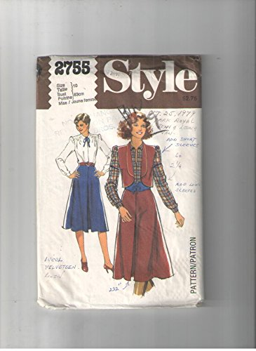 - Vintage Style 2755, Sewing Pattern for Front Pleat 4-gore Skirt with Size Zip Waistband, Lined Shawl Collar Bolero Vest, & Pullover Front Neck Slit Blouse