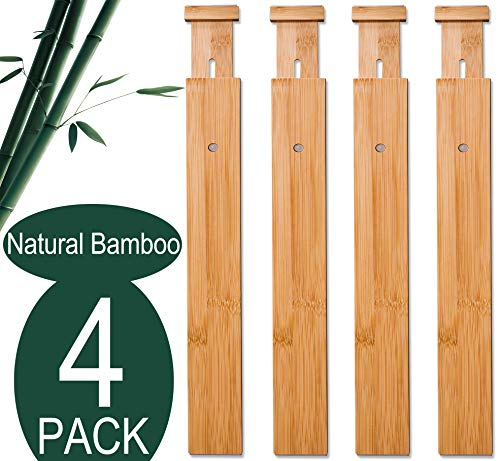 4 Pack Bamboo Drawer Dividers, Spring Loaded Adjustable Drawer Separators (2.1 in High, 17.5-21.65 in), Perfect Expandable Wooden Drawer Dividers for Kitchen, Bedroom, Bathroom, Dresser & Office