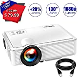 SOMEK Projector, 2400 Lumens LED Mini Projector Portable Support 1080P HDMI USB TF Card VGA AV HD Video Projectors, Home Theater Movie Projector for Laptop/iPhone/ iPad/Game / Outdoor/DVD / TV