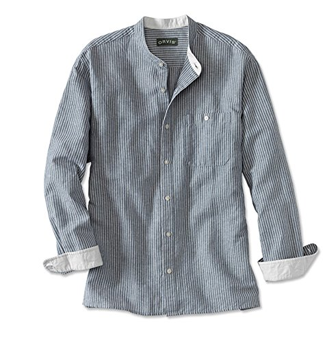 Orvis Men's Band-collar Long-sleeved Shirt, Navy/White, X Large