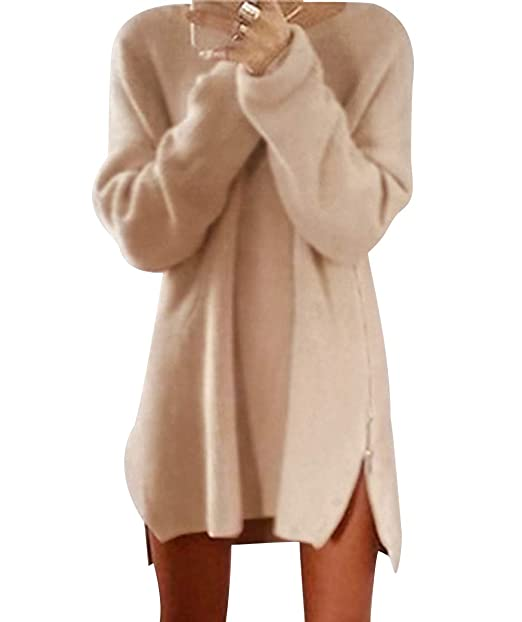 75a69a3796483a Maglioni Lunghi Donna Oversize Maglione Vestito Lungo Trecce Pullover  Pesanti Zip Donna Larghi Maglioncino Invernali Maglie