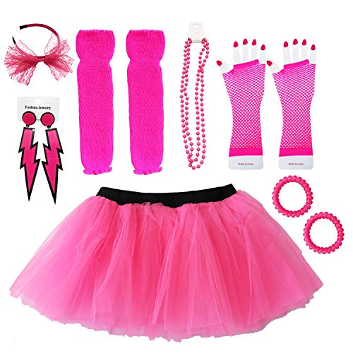 Dreamdanceworks 1980s Themed Clothes for Women Neon Tutu Skirt Plus Size Leggings Set for Girls (Hot Pink with Headband)]()