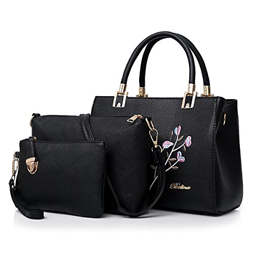 usage Coolives variety in one for Three leather embroidered women bags Black elegant of PU handbags rgqrvS8w