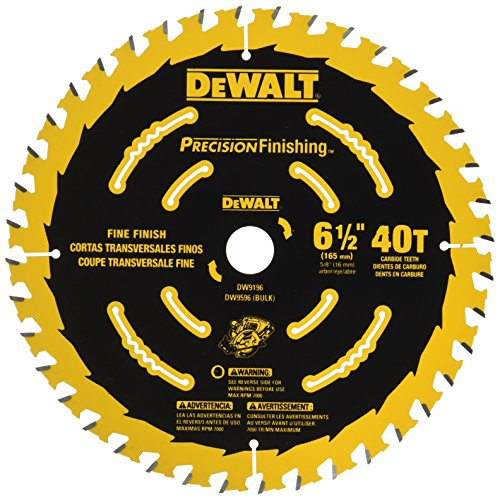 DEWALT DW9196 6-1/2-Inch 40T Cutting Precision Finishing Saw Blade 40 Carbide Teeth Circular Saw