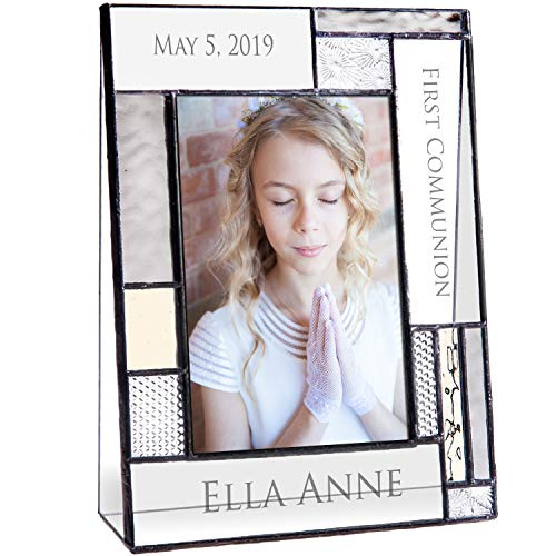 - First Communion Gifts for Girls Or Boys Personalized Picture Frame Custom Engraved Glass 4x6 Vertical Photo Grey and Antique Yellow J Devlin Pic 392-46V EP614