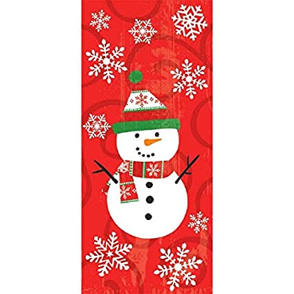 20 Ct Amscan AMI 371109 Christmas Snowman Multicolored Plastic Party Bags